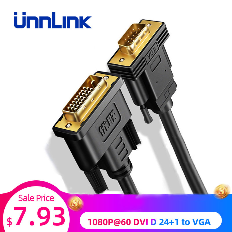 Unnlink Aktive DVI zu VGA Adapter FHD 1080P @ 60 DVI D 24 + 1 zu VGA Digital Adapter Konverter kabel Für Laptop Host Grafikkarte