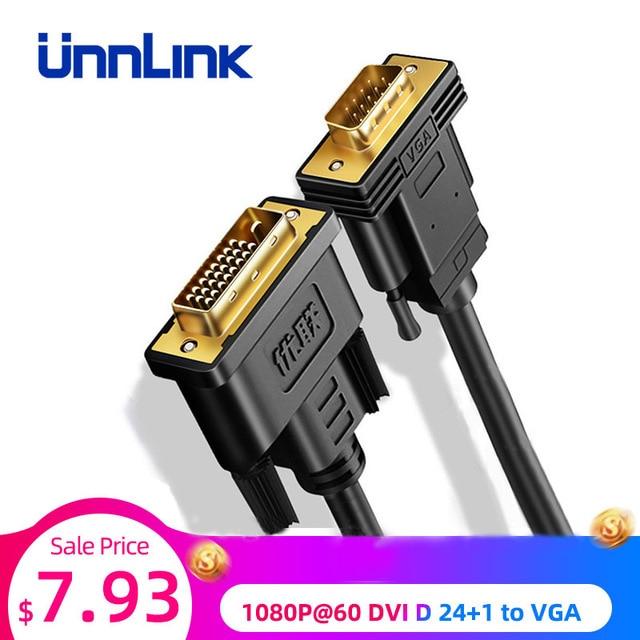 Unnlink активный адаптер DVI VGA FHD 1080P @ 60 DVI D 24 + 1 К VGA Цифровой адаптер конвертер кабель для ноутбука хоста графической карты
