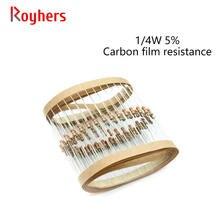 100Pcs 1/Conjunto 0R-22M 4W Carbon Film Resistor 5% Tolerância 43R 51R 56R 82R 100R 150R 200R 220R 270R 2 Ohm Resistência Eletrônica