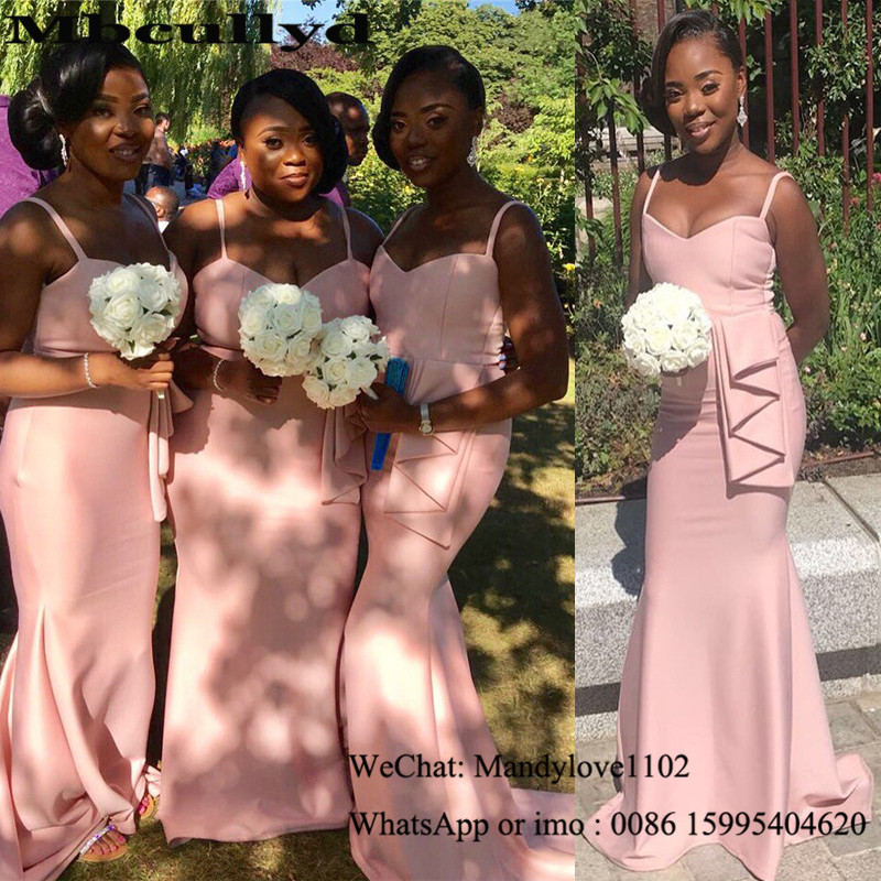Mbcullyd Pink Mermaid African   Bridesmaid     Dress   2020 Gorgeous Long   Dresses   for Wedding Party Cheap Formal vestido madrinha longo