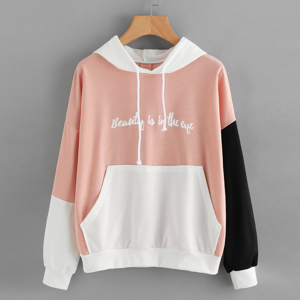 Loose Women Hoodies Letters Long Sleeve Hoodie Sweatshirt Hooded Pullover Tops Blouse Sweatshirt For Women Plus Size S To XXL