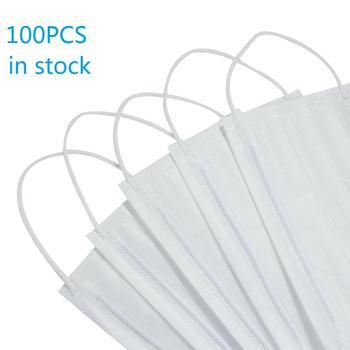 Hot sale 100pcs Disposable Masks  3 Layers Cover Masks ti-Dust Earloop Face Mouth Masks White Blue random ship