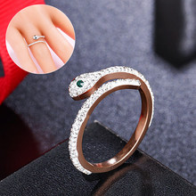 Fashion Jewelry Rose Gold Titanium Steel Women Ring Open Crystal Snake Finger Trendy Ring Elegant Couple Rings Jewelry Gifts(China)