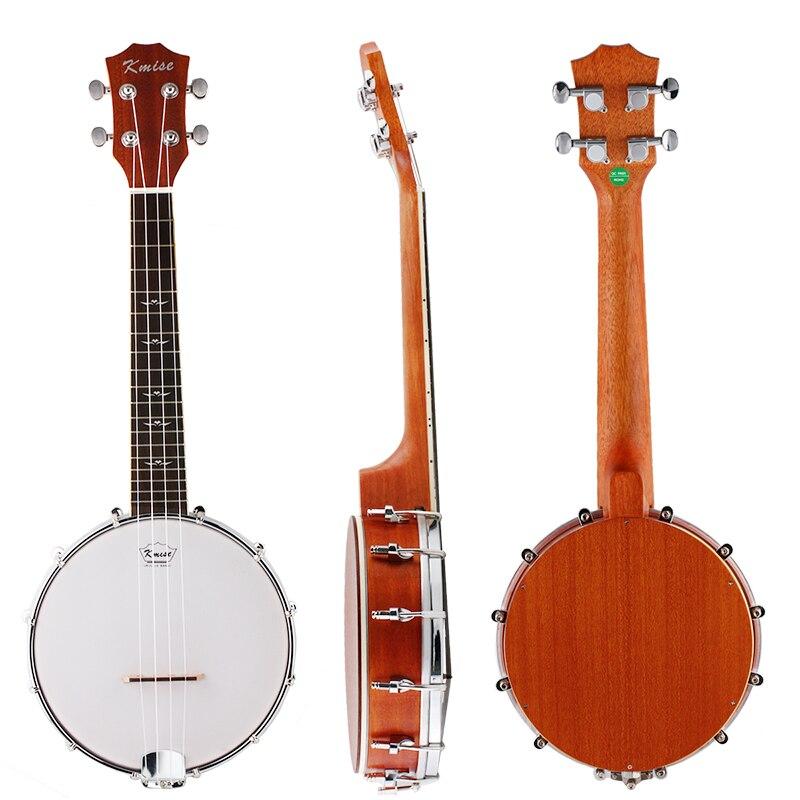 Kmise Banjo Ukulele 4 String Banjolele Concert 23 Inch Sapele Neck G-C-E-A For  Music Lover