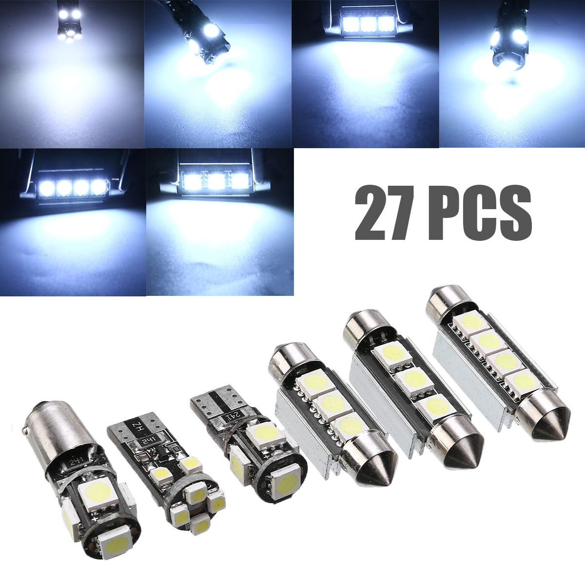 27pcs Car Auto Interior White LED Light Bulbs 6000K Lamp For Mercedes Benz E class <font><b>W211</b></font> 02-08 E320 E430 E500 <font><b>E55</b></font> <font><b>AMG</b></font> Accessories image