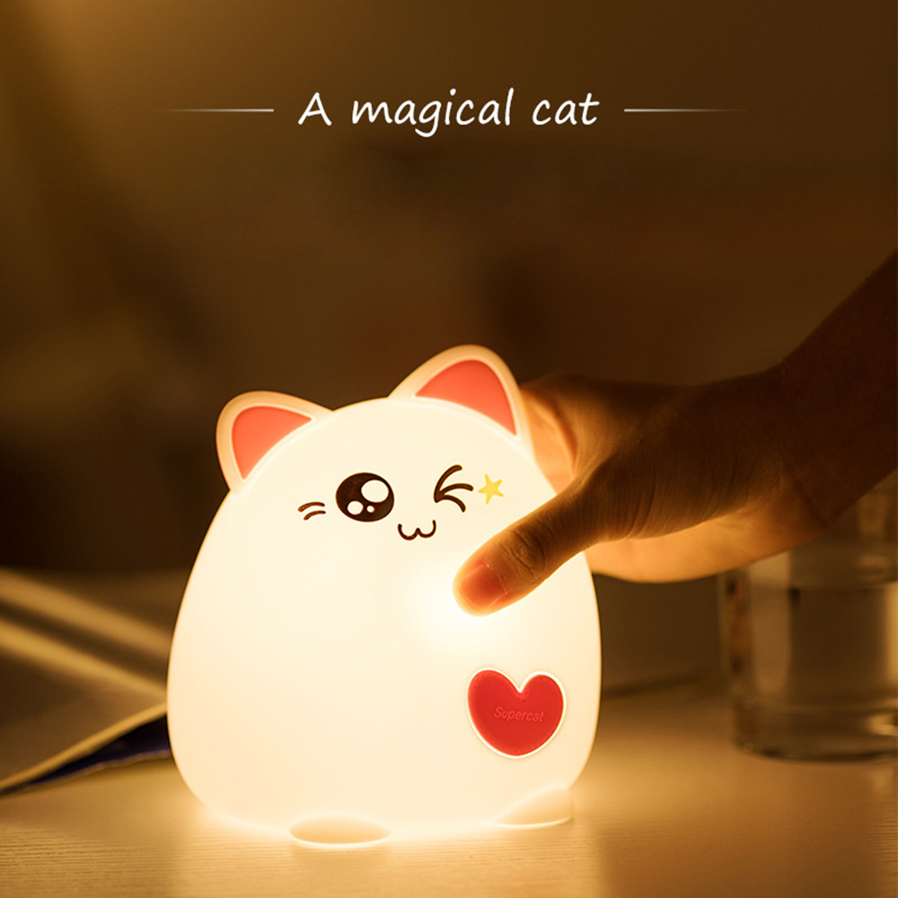Lovely Kitten Silicone Touch Sensor LED Night Light For Children Baby Kids Remote Control LED USB LED Night Lamp Colorful Mode