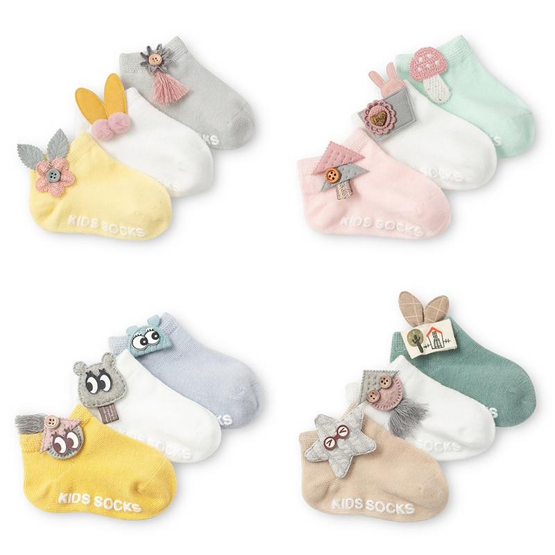 AiKway 3 Pair / Lot Baby Socks Cute Cartoon Socks Newborn Infants Boat Socks Antislip Socks Accessories Decorative Socks