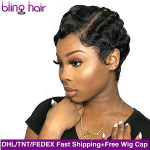 Image 1 - Bling saç kısa okyanus dalgası peruk brezilyalı Pixie kesim Bob parmak dalga peruk makinesi yapımı İnsan saç peruk kadınlar için doğal renk
