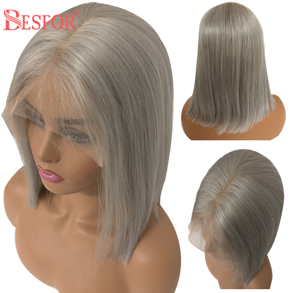 BESFOR 13×6 Brazilian Virgin Human Hair Grey Short Bob Wigs Bleached Knots Straight 150% Density Lace Front Wig For Black Women