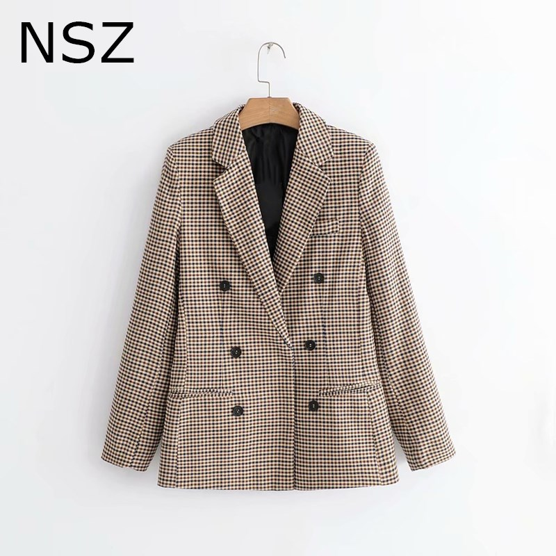 NSZ Women Elegant Plaid Blazer Long Sleeve Double Breasted Slim Check Coat Office Work Lattice Suit Jacket Houndstooth Outerwear