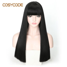 COSYCODE Black Long Straight Wig with Bangs 22 inch 55 cm Cosplay Women Wigs Non Lace Synthetic Costume Wig