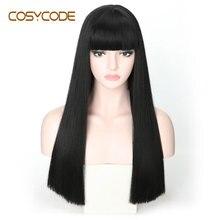 Cosycode preto peruca reta longa com franja 22 polegada 55 cm cosplay perucas femininas não laço peruca de traje sintético