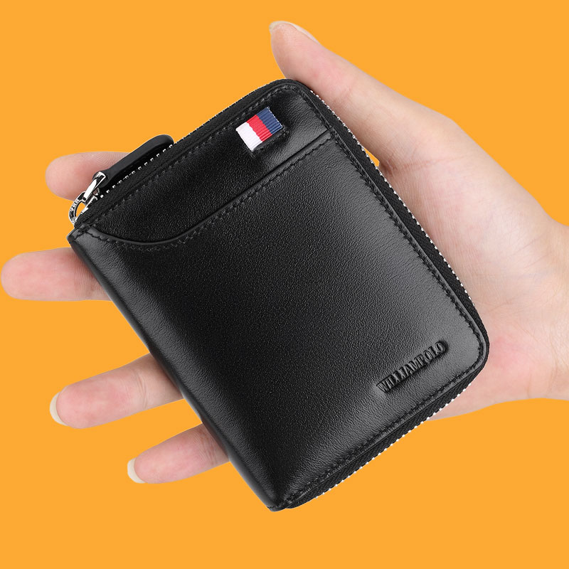 WILLIAMPOLO Men's Wallet Short Credit Card Holder Genuine Leather Organizer Mini Multi Card Case Zipper With Change Coin Purse