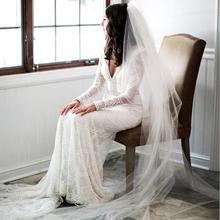 Vestidos de noiva de renda branca 2020 profundo v neck sereia vestidos de casamento mangas compridas design personalizado bordado frisado pérolas artesanais