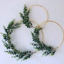 Рождественский Пасхальный металлический Железный золотой венок Свадебный декор цветочный обруч Рождественский Декор для дома гирлянда искусственные цветы