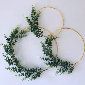 Christmas Easter Metal Iron Gold Color Wreath Wedding Decor Floral Hoop Christmas Decor for Home Garland Artificial Flowers