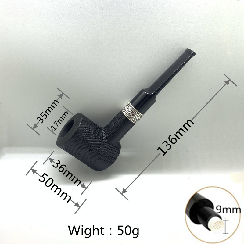 Oak Smoking Pipe,Pattern steel ring,Smoking Pipe with 3-in-1 Pipe Scraper,3Pipe Cleaners, 3 Metal Balls, Bonus a Pipe Pouch