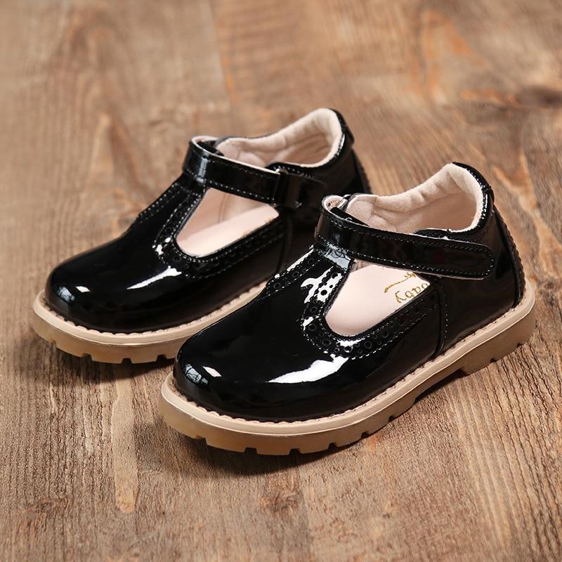 Children Shoes Girls Princess Party Wedding Dress Shoes Patent Leather Roman Design Black School Uniform Shoes For Kids Toddler