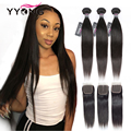 Yyong Peruvian Straight Hair 4/ 3 Bundles Remy Human Hair Extension With 4*4 Lace Closure Double Weft Weave Bundles With Closure