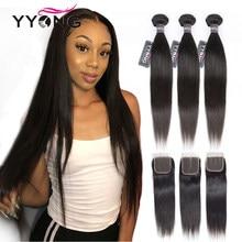 Yyong péruvien cheveux raides 4/ 3 paquets Remy Extension de cheveux humains avec 4*4 dentelle fermeture Double trame armure faisceaux avec fermeture