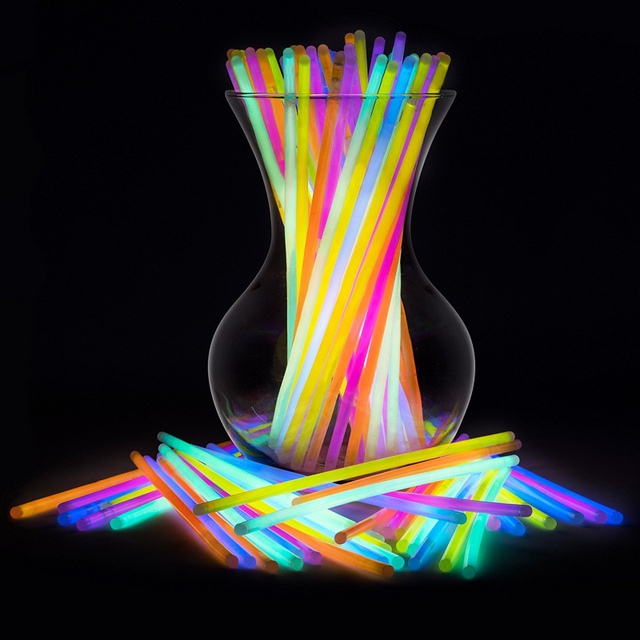100pcs Event Festival Supplies Party Fun Fluorescence Light Glow Sticks Bracelets Necklaces Neon Wedding Bright Colorful Light