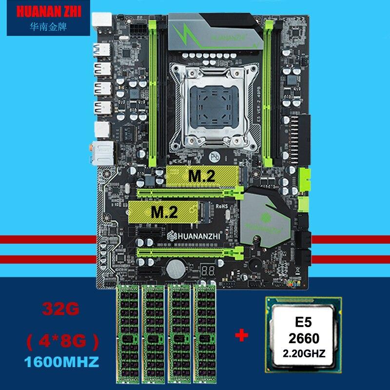 HUANAN ZHI X79 scheda madre con slot per M.2 sconto scheda madre con CPU Intel Xeon E5 2660 C2 SROKK 2.2GHz RAM 32G (4*8G) REG ecc