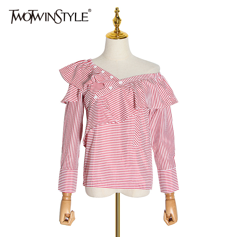 TWOTWINSTYLE Sexy Striped Blouse Women Slash Neck Off Shoulder Long Sleeve Ruffle Asymmetrical Shirt Female Clothing Fashion New