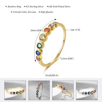 E Rainbow Color CZ Finger Rings for Women Stackable Ring Wedding Statement Real Sterling Silver 925 Jewelry 14K Gold Plated 2