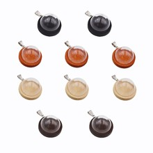 5sets half glass cover wood base with stainless steel Pendant clip set glass dome glass bottle cute charms jewelry pendant 5sets 25mm micro landscape ecological glass bottle glass pots with jewelry findings set glass bottle moss diy glass globe set