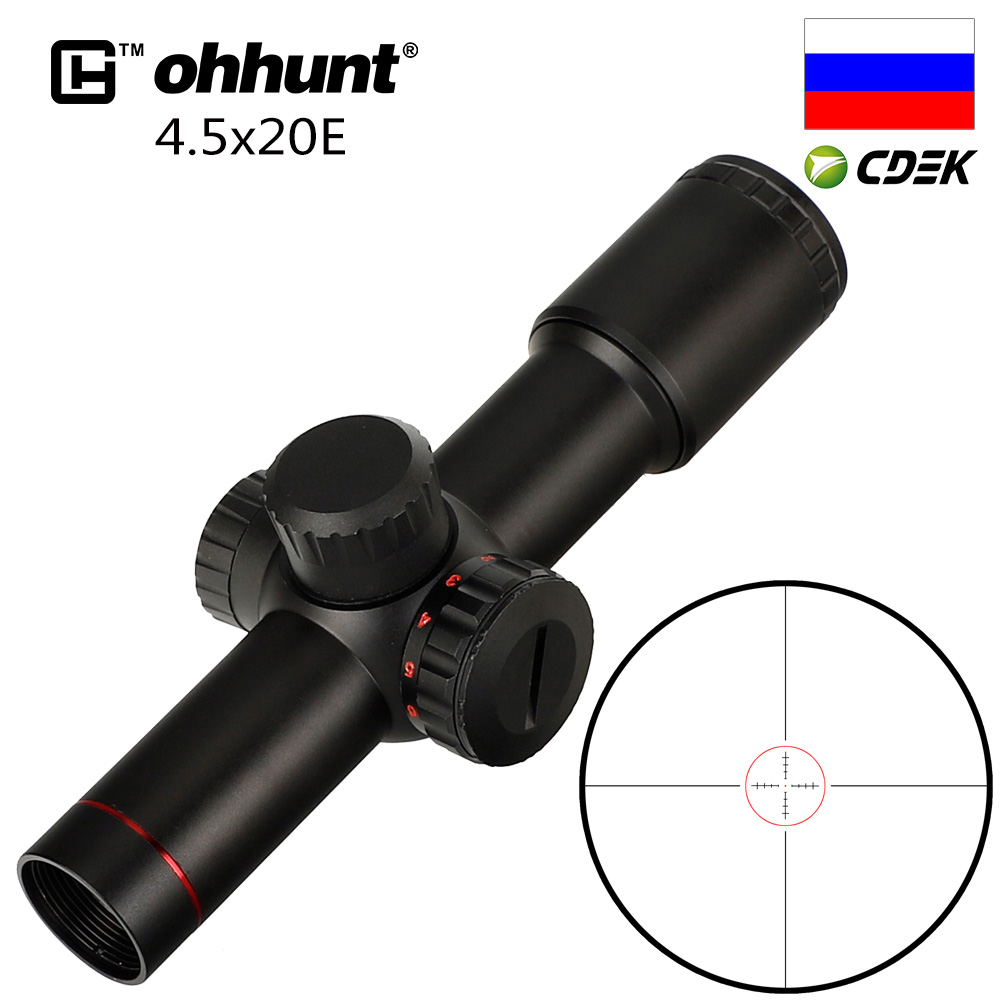 ohhunt 4.5x20E Compact Hunting Rifle Scope Red Illuminated Glass Etched Reticle Riflescope With Flip open Lens Caps and Rings|reticle riflescope|etched reticle|scope red - title=