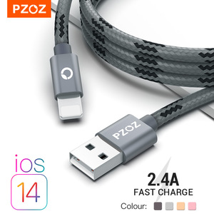 PZOZ Usb кабель зарядка для iphone кабель 11 12 pro max Xs Xr X SE 2 8 7 6 plus 6s 5s ipad air mini 4 Быстрая Зарядка Кабели зарядное устройство для iphone провод для зарядки а...