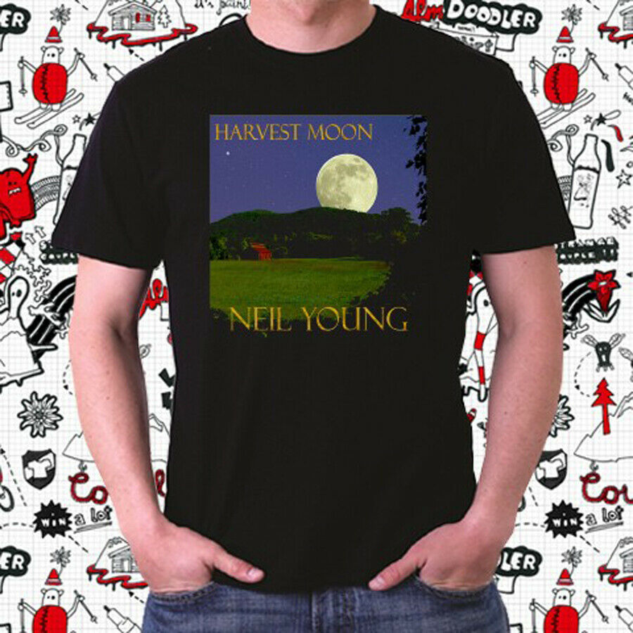 Neil Young Harvest Moon Album Men's Black T-Shirt Size S to 3XL Tops Men Tee Shirts top tee image