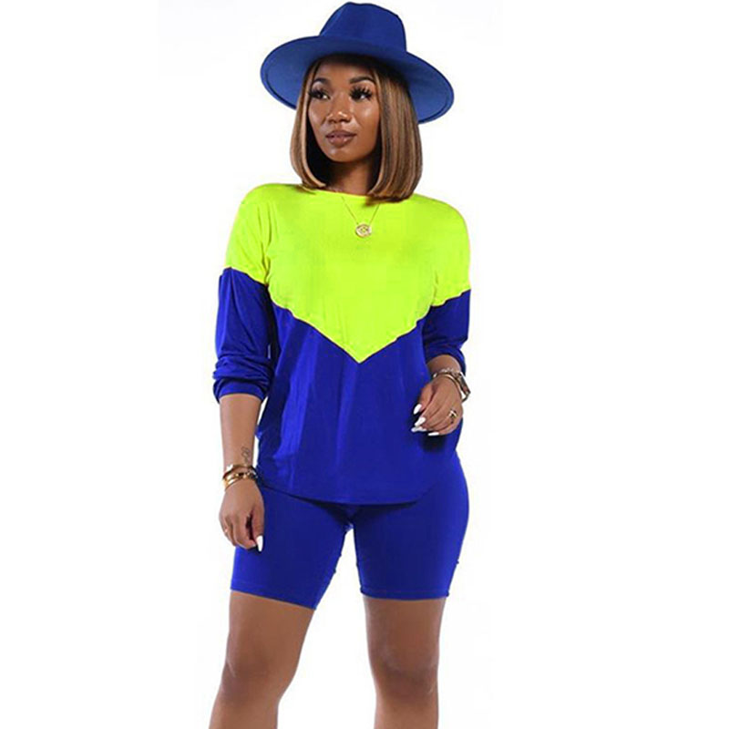 Color Block Patchwork Two Piece Set Tracksuit Women Long Sleeve Top + Shorts Casual Sports Suit Matching Sets Conjunto Feminino