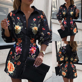 Women Elegant Lantern Sleeve Button Decor Blouse Top 2020 Autumn Fashion Female Floral Printed Turn-down Collar Shirt D30 lantern sleeve striped button front blouse