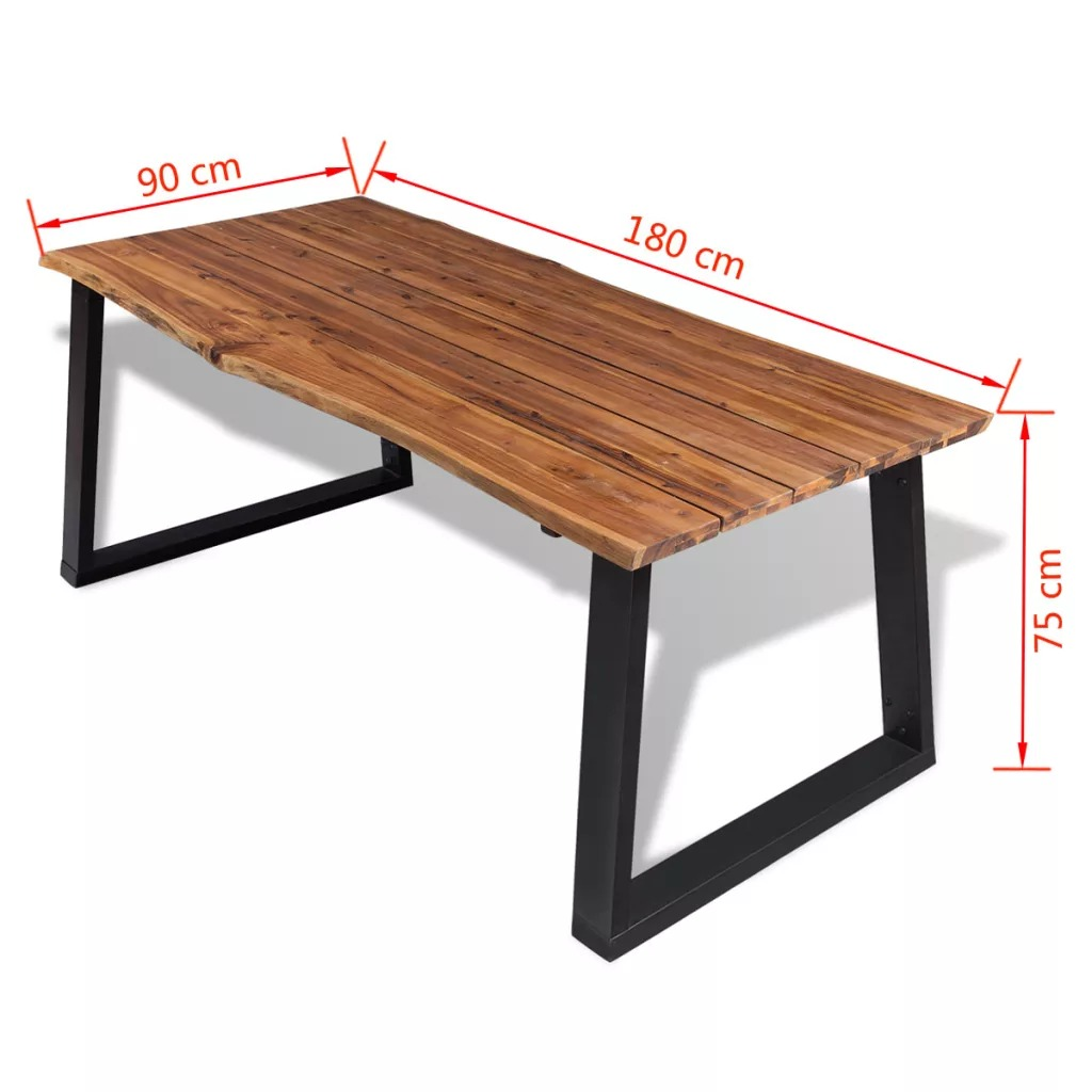 New Dining Table Furniture VidaXL Solid Acacia Wood Dining Table Set Cool Industrial Modern Dinning Table Set 180x90cm