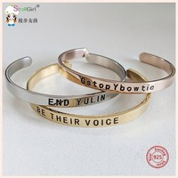 SG Inspirational Bracelet 925 Silver Personalized Customize Engraved Letter & slogan Bangles For Women Fashion Jewelry Hot Sale.