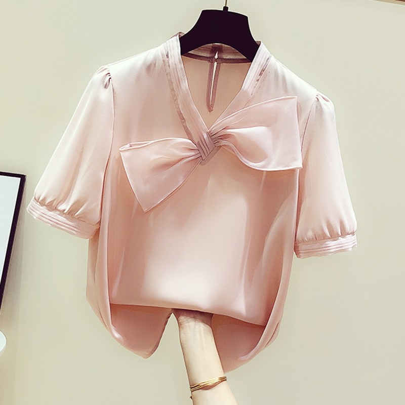 Summer Top Women Short Sleeve Blouse Temperament V-neck Bow Chiffon Shirt Female Casual Solid Color Shirts Blusas Ladies Top