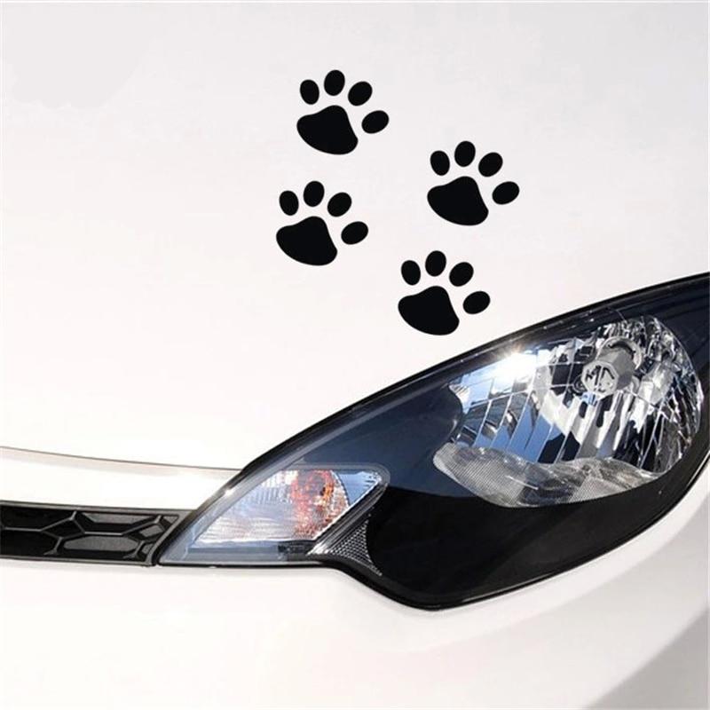 Car Styling 4 Pcs Footprints Dog Paws Panda Footprints Decals Car Stickers Car Window Bumper Body Personality Fun Stickers