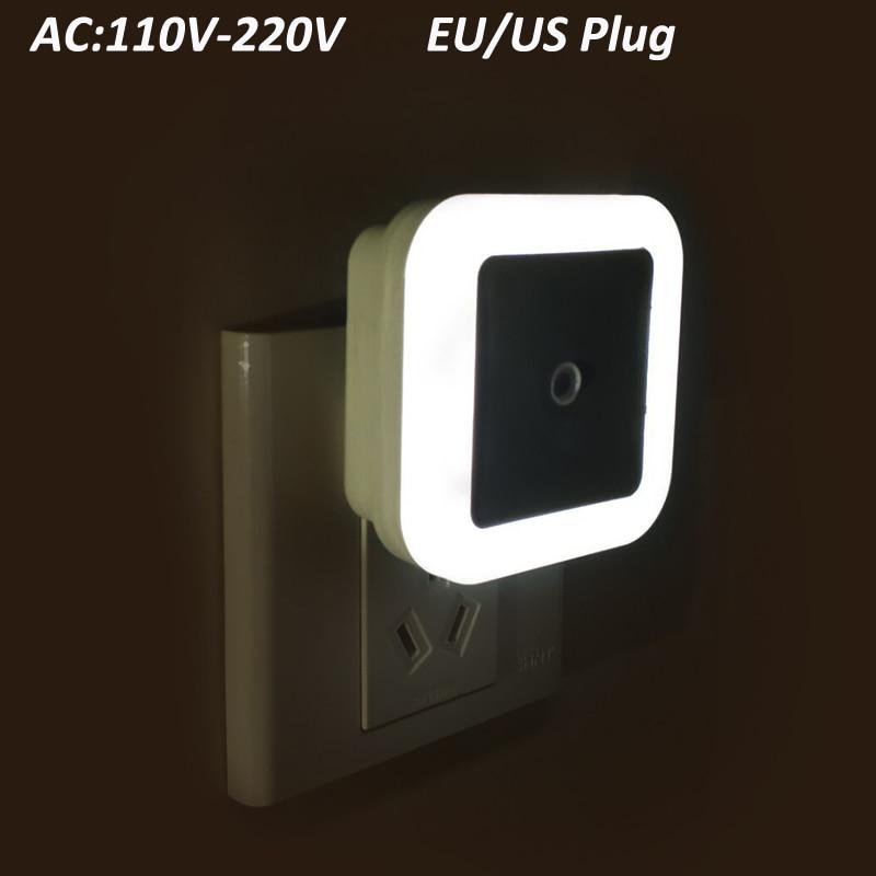 Sensor LED Night Light 110V 220V EU US Plug Mini Sensor Nightlight Control Light For Baby Room Bedroom Bathroom Lamp