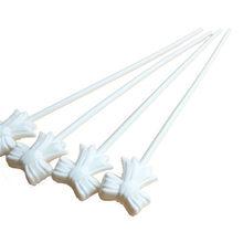 10 шт., автоматическая баллонная штанга, белая, с бантиком, самонадувающаяся, с зажимом