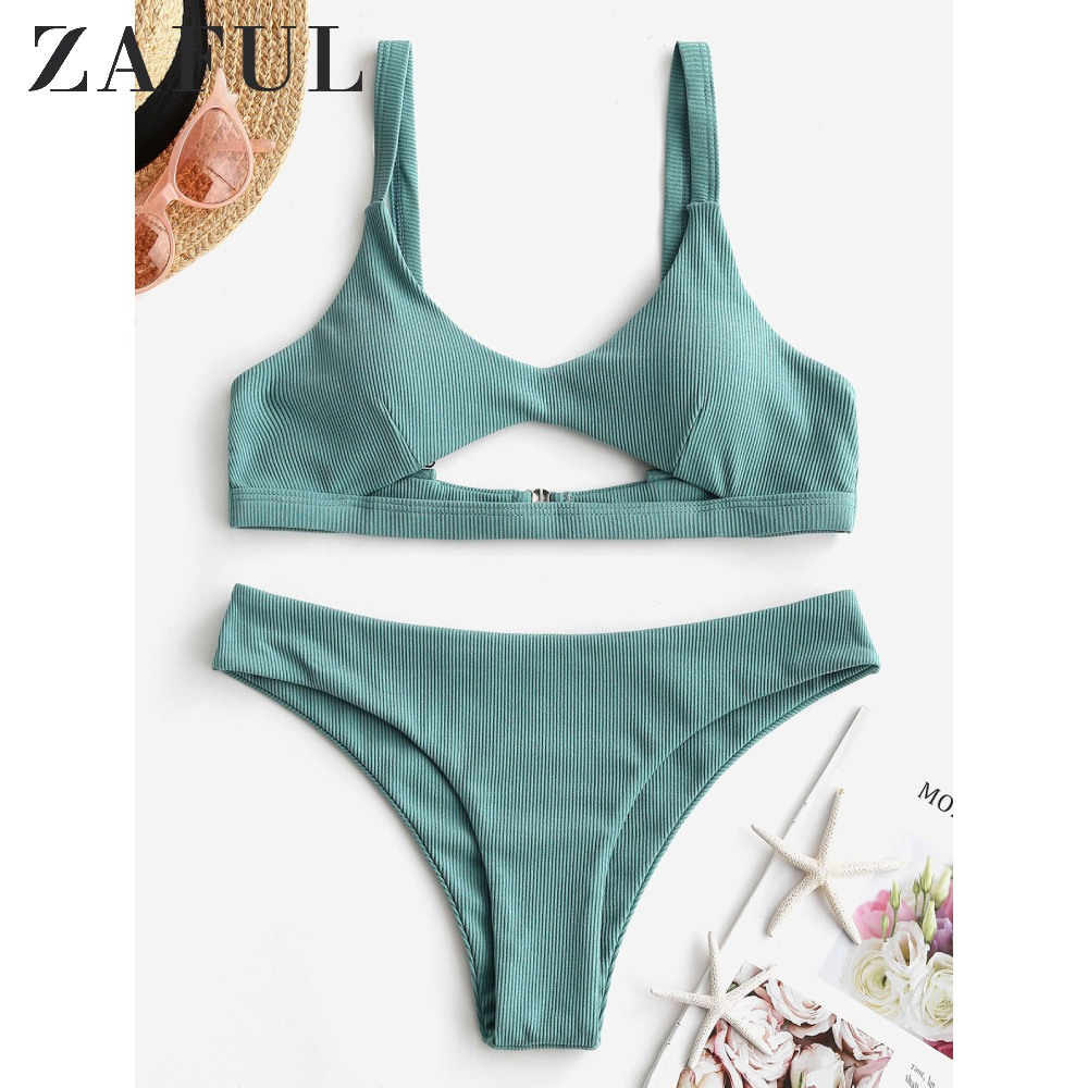 ZAFUL Ribbed Cut Out Padded Bikini Swimwear Scoop Neck Plain Bikini Sets Solid Color 2020 Spring New Women Two Pieces Swimwear