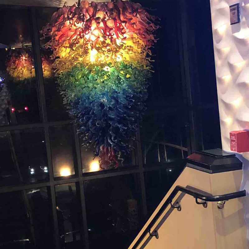 Hot Selling Hand Blown Glass Chandelier Italy Glass Art Designed Hanging Glass Rainbow Lighting