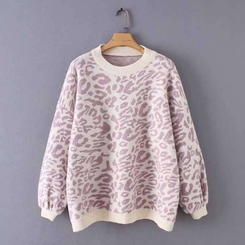 Sweater Wanita Turtleneck Leopard Rajutan Sweater Hewan Cetak Tebal Musim Dingin Wanita Pullovers Atasan Kasual Kebesaran Sweter