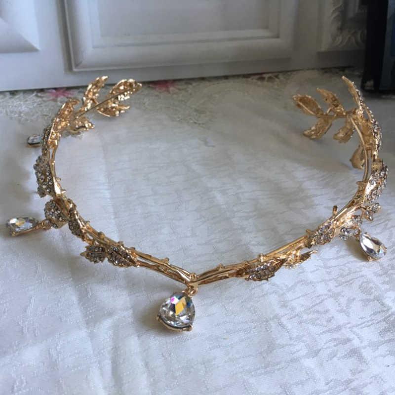 VINTAGE คริสตัลเจ้าสาวผมอุปกรณ์เสริมงานแต่งงานเทียม Rhinestone Waterdrop Leaf Tiara Crown Headband Frontlet เพื่อนเจ้าสาว