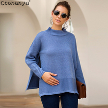 Fashion Autumn Pullover Knitted Sweaters Side Slit Women Casual Forked Solid Patchwor 2019 Sweater