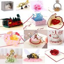 38 стилей 3D всплывающие поздравительные открытки любовь в руках День рождения Свадьба Хэллоуин Рождество День святого Валентина год Рождество подарок для детей