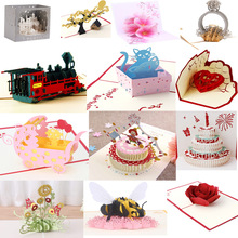 38 Styles 3D Pop Up Greeting Card Love In Hands Birthday Wedding Halloween Christmas Valentines' Day New Year Xmas Kids Gift