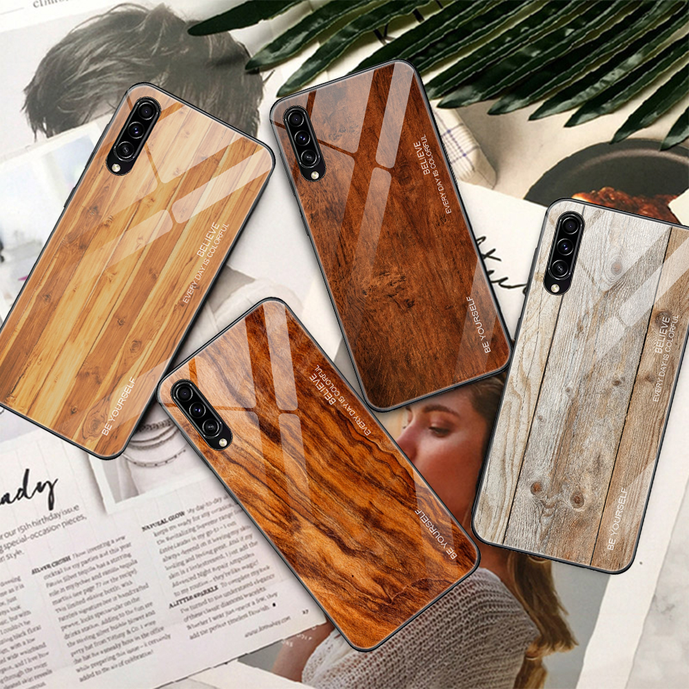 Retro Wooden Patterned <font><b>Case</b></font> For Samung <font><b>Galaxy</b></font> A10 A20 <font><b>A40</b></font> A50 A30 A50S A30S Glass Phone <font><b>Case</b></font> Coque A30 A50 S A 30S 50S Fundas image