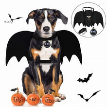 Funny Dog Cat Costume Bat Wing Cosplay Prop Halloween Bat Fancy Dress Costume Christmas Party Decoration  with white bell