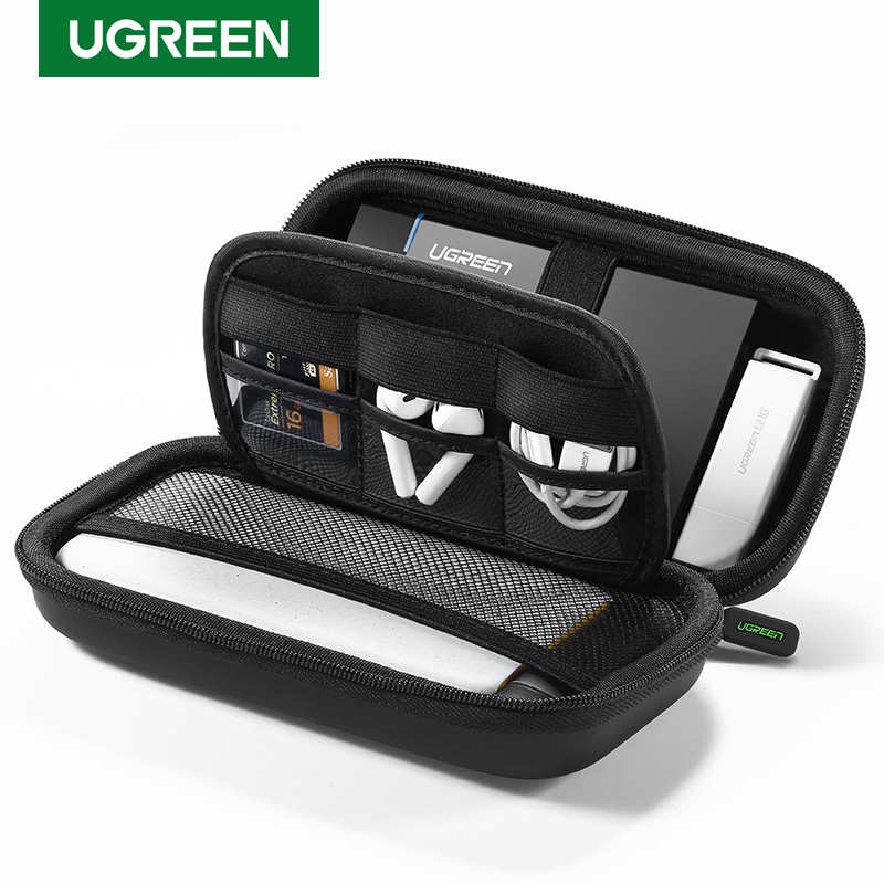 Ugreen Power Bank Case Hard Case Box for 2.5 Hard Drive Disk USB Cable External Storage Carrying SSD HDD Case(China)